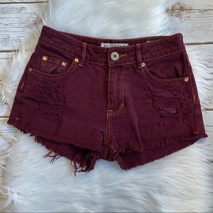 BULLHEAD MAROON DENIM DISTRESSED SHORTS 0